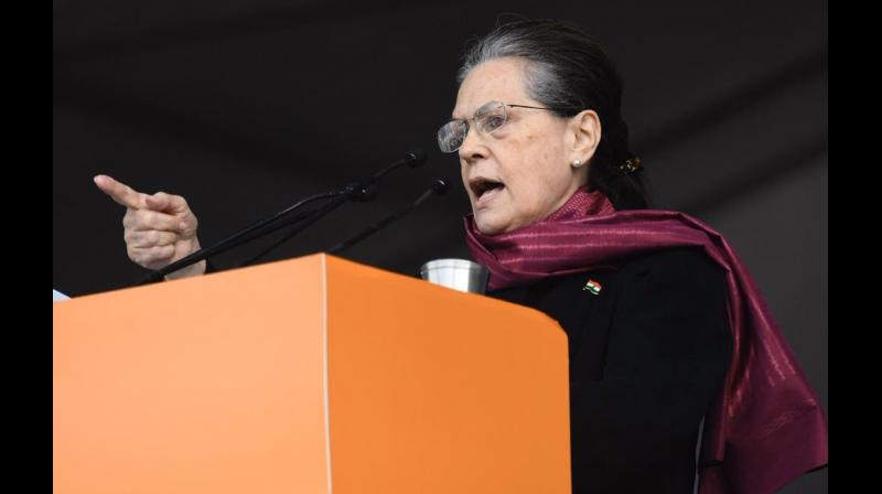 'Congress will not step behind in the fight against injustice, will fulfill our duty of saving country, democracy till our last breath. Suffering injustice is the biggest crime, it's time to rise to save democracy and constitutions,' Sonia said. (Photo: Twitter | @IYC_UPCentral)