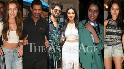 Bollywood celebrities like Shahid Kapoor, Kiara Advani, John Abraham, Tara Sutaria, Janhvi Kapoor and others were spotted in the city of dreams, Mumbai. (Photos: Viral Bhayani)