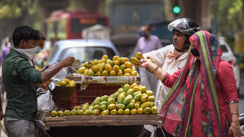 Customers buy fruits from a roadside stall during Unlock 1.0 at Rohini in New Delhi, on Sunday, June 28, 2020. (PTI)