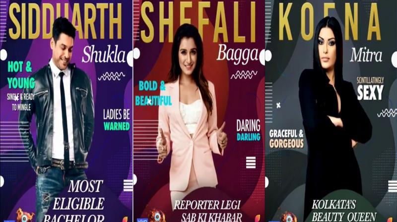 Siddharth Shukla, Shefali Bagga and Koena Mitra. (Photos: Instagram)