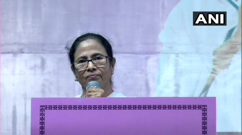 West Bengal Chief Minister Mamata Banerjee was speaking at the ceremonial program arranged for the re-installing the bust of Ishar Chandra Vidyasagar at Hare School ground at College Street. (Photo: ANI)