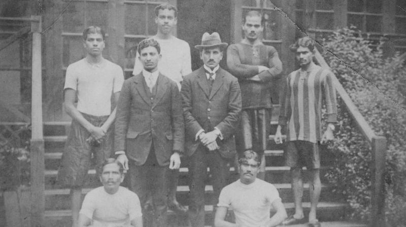 India's 1920 Antwerp Olympics team S. V. Datar, H. D. Kaikadi, R. D. Shinde, Sohrab Bhoot, P. C. Bannerjee, Dr AHA Fyzee, K. T. Navale and P. D. Chaugule.