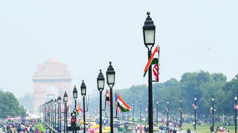 India and US flags near Rashtrapati Bhavan at Raisina Hill ahead of the US President Donald Trump's visit, in New Delhi on Sunday. (Photo: PTI)