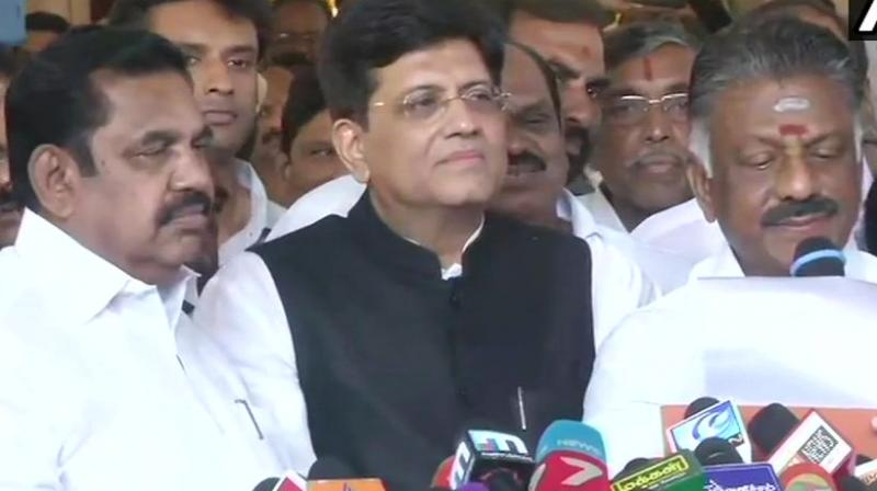 A confident Goyal, claimed that the alliance will sweep Tamil Nadu in 2019 and win all the 40 Lok Sabha seats in the state.  (Photo: ANI  Twitter)