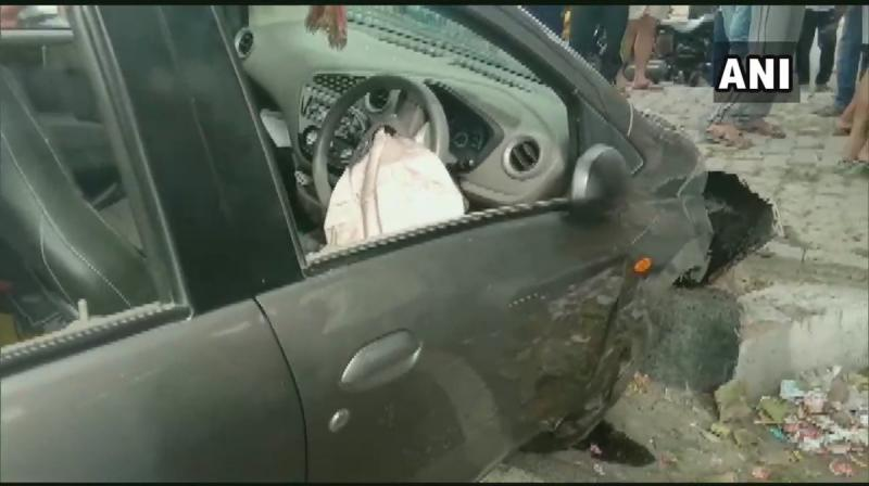 One of the bullets struck her in the neck and she lost consciousness after which her car hit the footpath. She was rushed to the Venkateshwara hospital. (Photo: ANI)