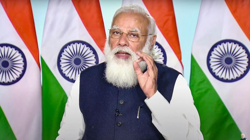 Prime Minister Narendra Modi addresses a webinar on effective implementation of Budget provisions in Defence sector, via video conferencing, in New Delhi, Monday, February 22, 2021. (PTI)