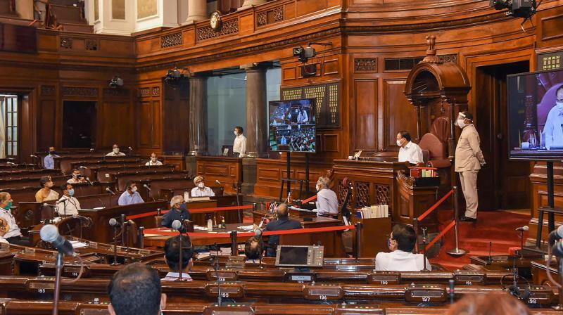 New Delhi: Rajya Sabha Chairman M Venkaiah Naidu conducts a mock session of the Rajya Sabha, at Parliament House in New Delhi, Wednesday, Sept. 9, 2020. (PTI)