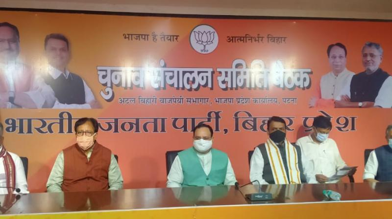 JP Nadda and Devendra Fadnavis at the Bihar BJP office. (Twitter)