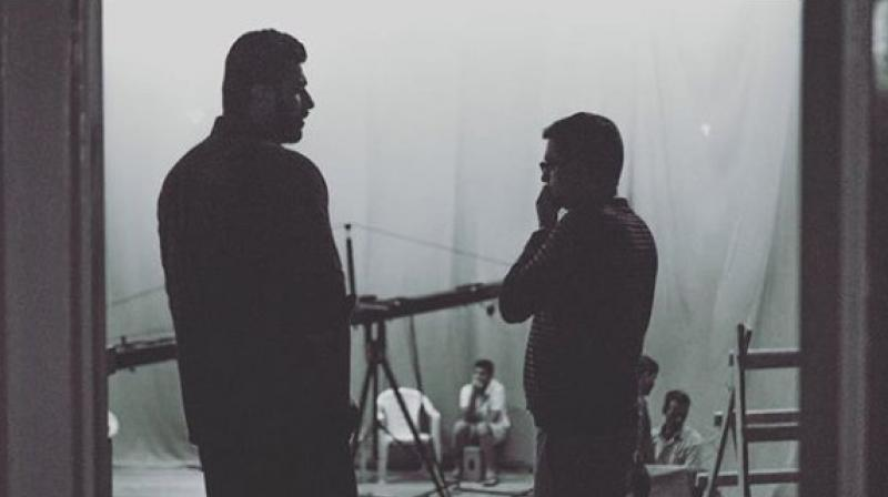 Arjun Kapoor and Raj Kumar Gupta on the sets of India's Most Wanted.