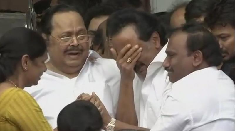 Karunanidhi's son and DMK working president MK Stalin broke down soon after the Madras High Court ruled. (Photo: Twitter   ANI)