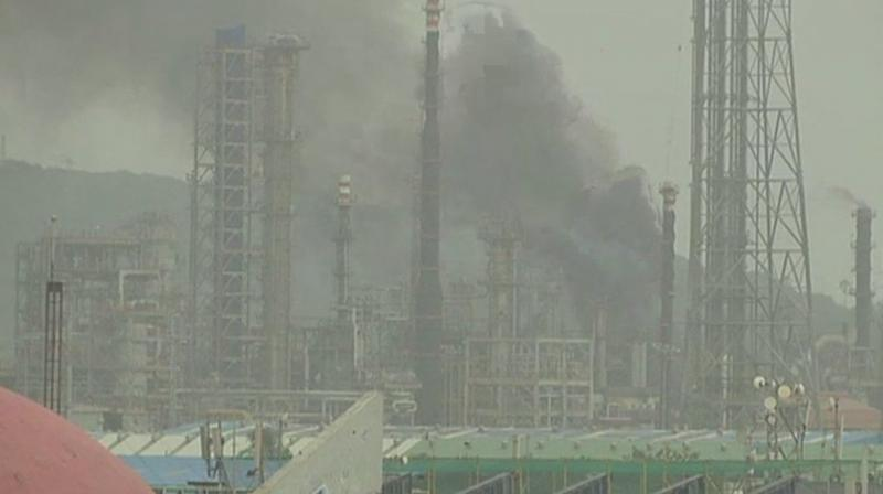 The plant at Mahul road in Chembur area of Mumbai caught fire at around 3 pm, official said. (Photo: Twitter | ANI)