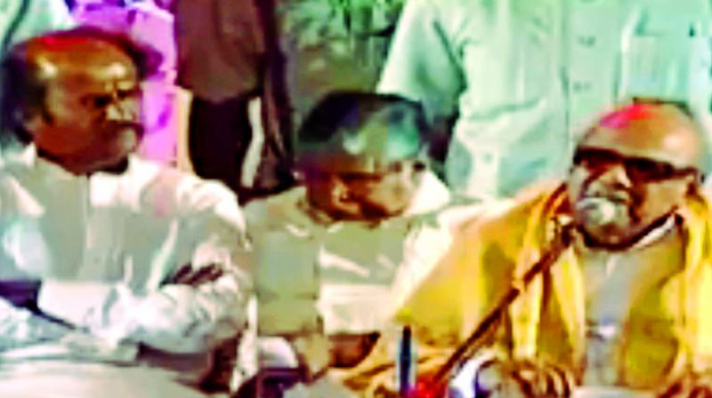 DMK patriarch M Karunanidhi at a public function with superstar Rajinikanth.