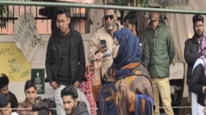 Sumaiya Rana speaking at an event in AMU on Sunday. ANI photo