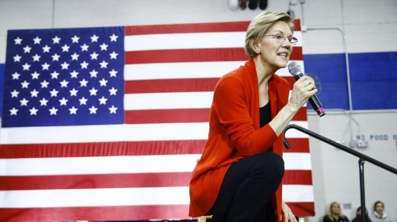 Democratic presidential candidate Sen. Elizabeth Warren, D-Mass., speaks during a campaign event at Rundlett Middle School on Sundayin Concord, N.H. AP Photo