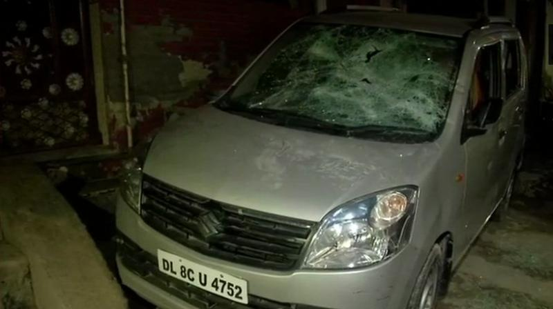 Parts of the house were damaged in the attack and a car and three bikes parked outside his home were also vandalised. (Photo: Twitter | ANI)