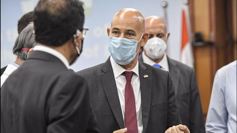 Israel ambassador to India, Ron Malka at an event of sharing state-of-the-art medical equipment and technologies for COVID-19 medical care with the AIIMS in New Delhi. PTI photo