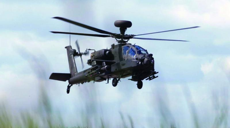 The Apache helicopter takes flight