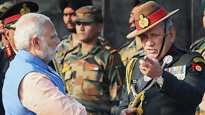 Prime Minister Narendra Modi and Army Chief General Bipin Rawat during the ceremony for pays tribute to security personnel who lost their lives in encounters with terrorists in J&K. (Photo: PTI)