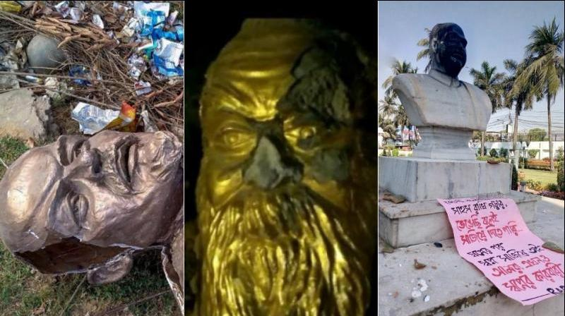 Statue of Lenin was razed down in Tripura (L), Periyar statue was defaced in Vellore (C), Syama Prasad Mookerjee's statue was defaced in Kolkata (R). (Photo: Twitter | PTI | ANI)