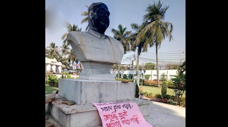 The prominent right-wing ideologue's statue came under attack at Kalighat area of south Kolkata. (Photo:  ANI   Twitter)