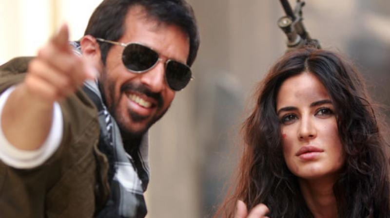 Katrina Kaif and Kabir Khan on the sets of 'Phantom'.