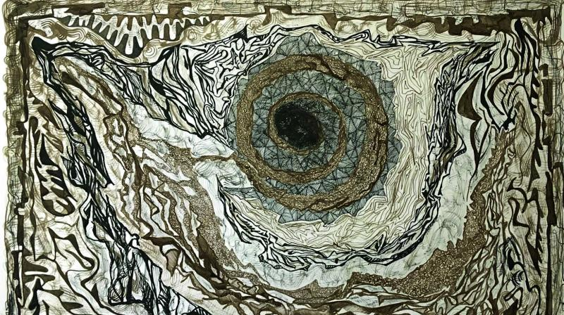 The exhibition includes photographic prints, pen and ink drawings and acrylics and oils on canvas.