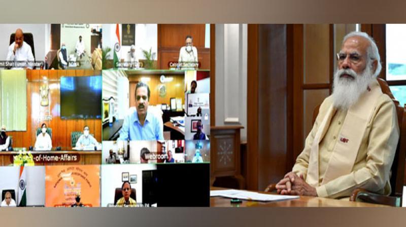 Prime Minister Narendra Modi at the review meeting for Cyclone Yass. (Screengrab)