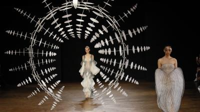 The 'Hypnosis' collection by Dutch designer Iris Van Herpen included large hypnotic installations across the stage for a dramatic effect. (Photo: AP/Francois Mori)