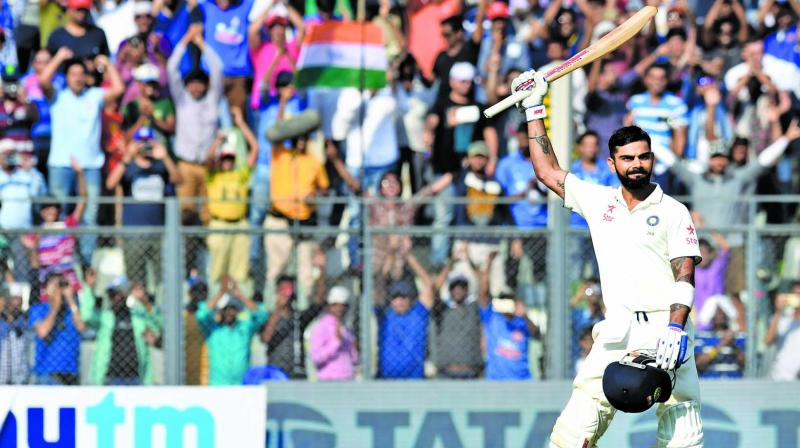 Captain Virat Kohli celebrates his century on the third day of the fourth Test against England. (Photo: Rajesh Jadhav)
