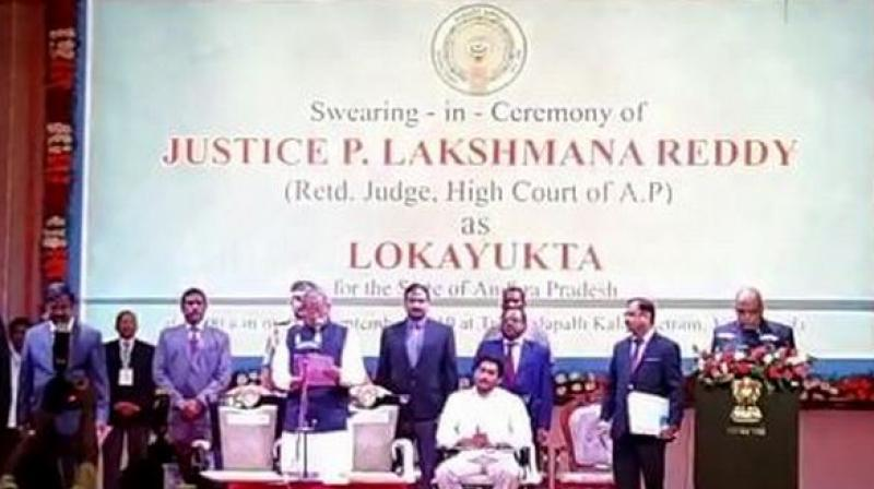 Justice P Lakshman Reddy taking oath as the Lokayukta of Andhra Pradesh. (Photo: ANI)