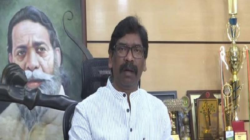 Hemant Soren addressed the press conference in Ranchi. (Photo: ANI)