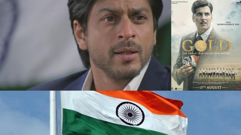 Shah Rukh Khan in a still from 'Chak De India', Akshay Kumar on 'Gold' poster, Indian National Flag.