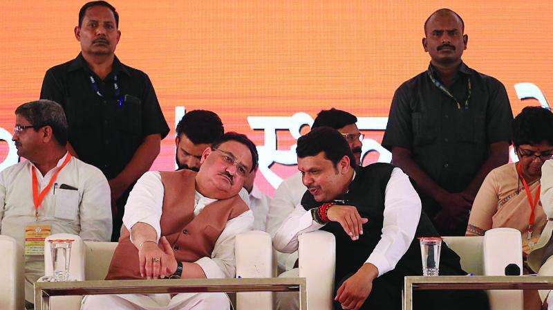 BJP chief J.P. Nadda and leader of Opposition in the Vidhan Sabha Devendra Fadnavis at the BJP meeting in Nerul on Sunday. (Photo: Asian Age)