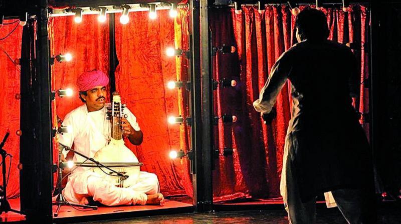 The Manganiyar's performing at a show