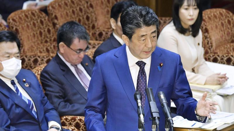 Japanâ's Prime Minister Shinzo Abe speaks at a parliamentary session in Tokyo Monday. AP Photo