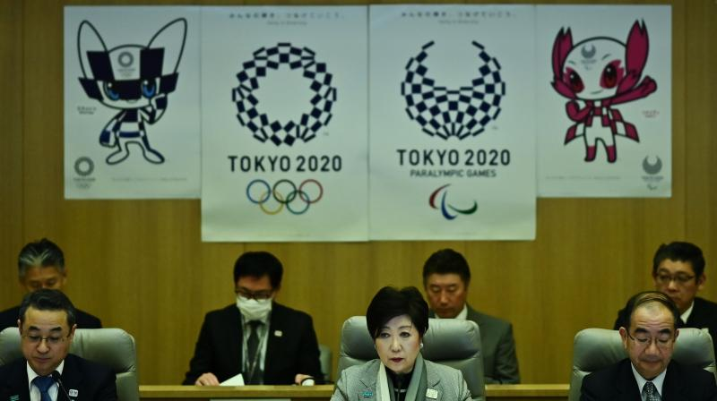 Tokyo Governor Yuriko Koike speaks during her meeting about COVID-19 at the Tokyo Metropolitan Government office on Monday. AFP Photo