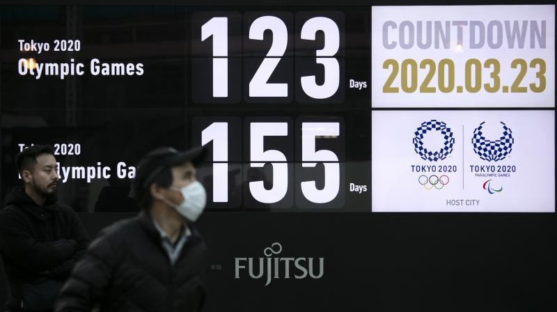 TIME IS TICKING: A countdown display for the Tokyo 2020 Olympics and Paralympics. AP Photo