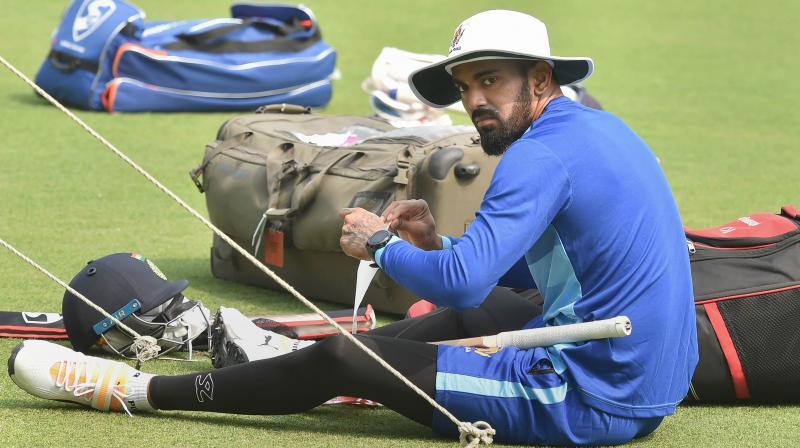 Karnataka cricketer KL Rahul during a training session at Eden Gardens, in Kolkata. PTI Photo