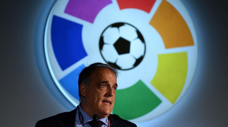 File photo president of Spanish football league La Liga, Javier Tebas. AFP Photo