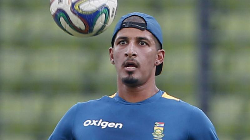 South Africa's Beuran Hendricks during a practice session in Dhaka. AP Photo