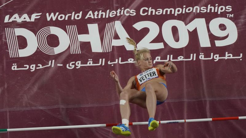 Anouk Vetter of the Netherlands clears the bar during the high jump event in the women's heptathlon at the World Athletics Championships in Doha, Qatar, in 2019. AP Photo