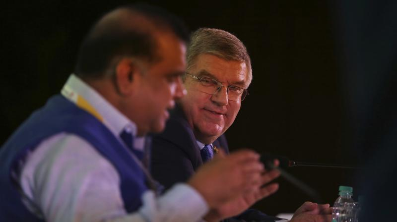 President of the Indian Olympic Association Narinder Dhruv Batra with president of the International Olympic Committee (IOC) Thomas Bach. AP Photo