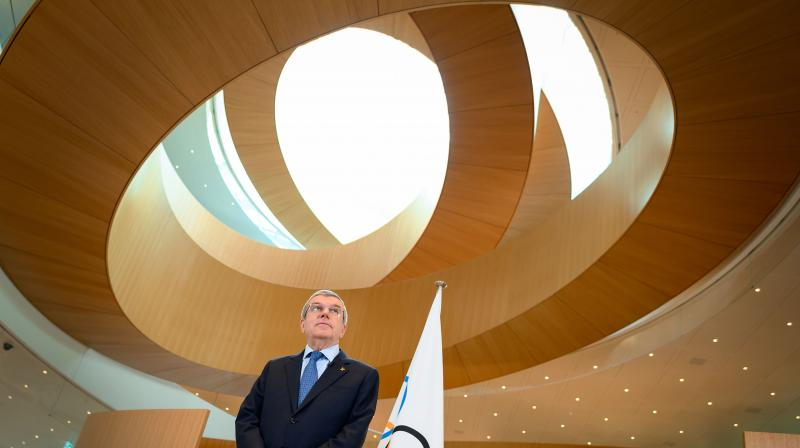 International Olympic Committee (IOC) president Thomas Bach delivers a statement at the IOC headquarters in Lausanne. AFP Photo