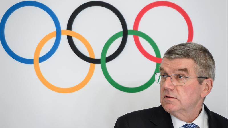 IOC president Thomas Bach at a press conference in Lausanne in Switzerland. AFP Photo