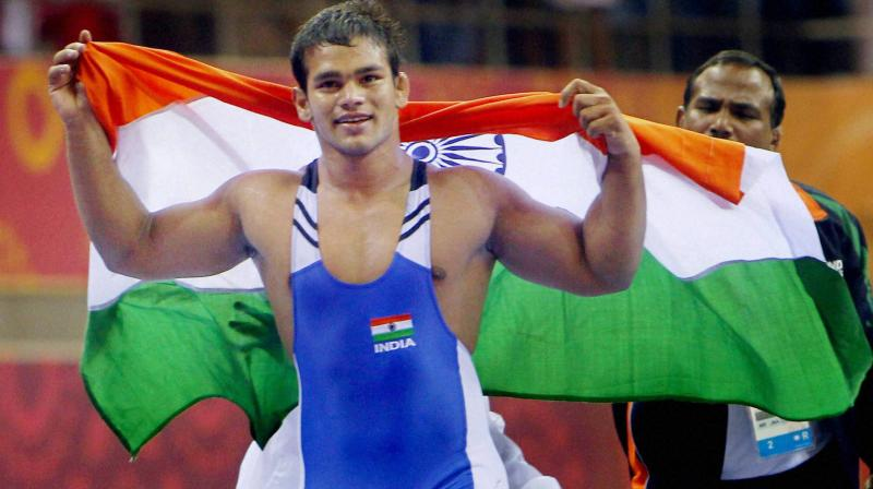 File photo of Narsingh Yadav who tested positive for a banned steroid that ruled him out of the Rio Olympics. PTI Photo