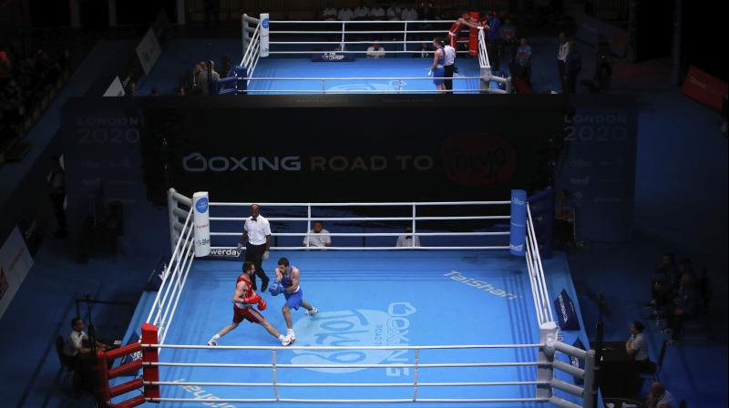 A general view of the arena during day three of the Boxing Road to Tokyo 2020 Olympic qualifying event in London. AP Photo