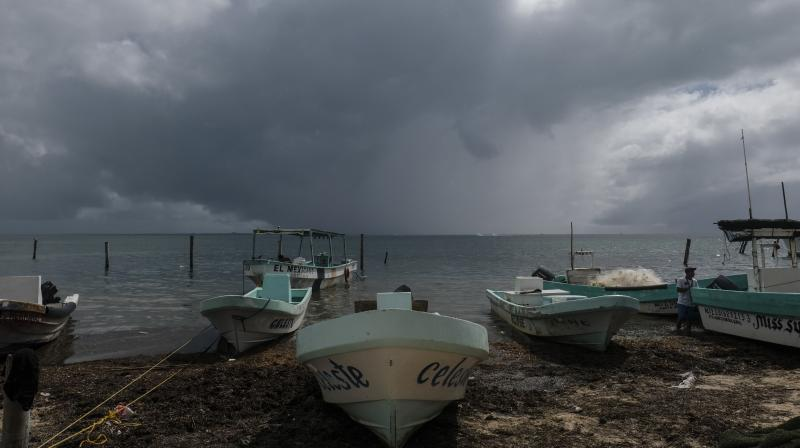 Boats sit closer to the shore after they were secured by fishermen preparing for the arrival of Hurricane Delta in Puerto Juarez, Cancun, Mexico, Tuesday, Oct. 6, 2020. Hurricane Delta rapidly intensified into a potentially catastrophic Category 4 hurricane Tuesday on a course to hammer southeastern Mexico and then continue on to the U.S. Gulf coast this week. (AP)