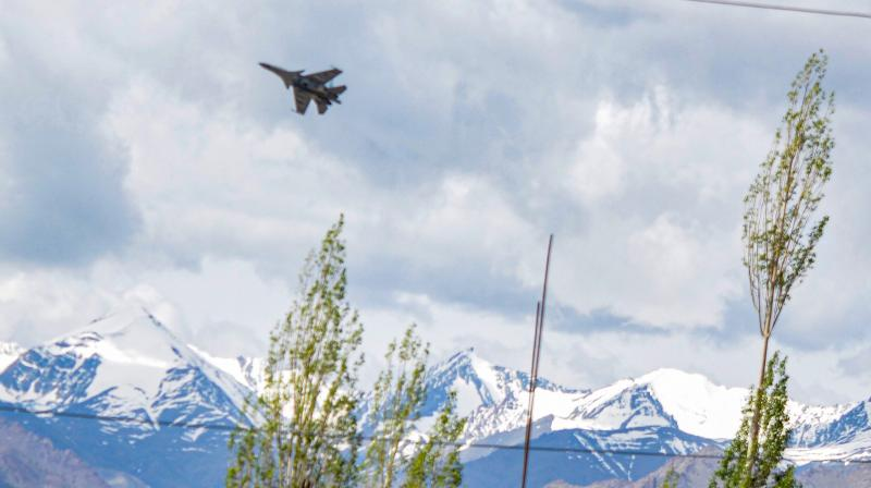 An IAF fighter jet flies in the skies of Leh in the Union Territory of Ladakh, where India has been engaged in a tense standoff with China on (PTI Photo) (PTI29-06-