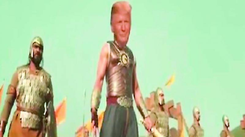 A screenshot of the Baahubali video retweeted by US President Donald Trump ahead of his maiden visit to India on Sunday.