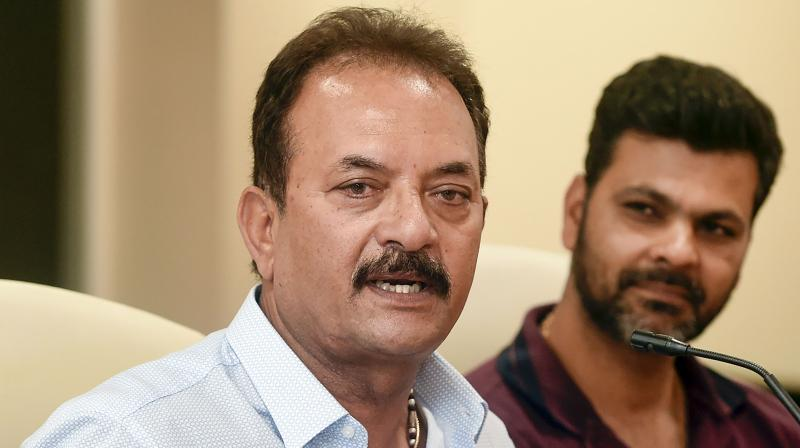 Cricket Advisory Committee members Madan Lal and RP Singh speaking to the media after naming the new selectors in Mumbai on Wednesday. PTI Photo